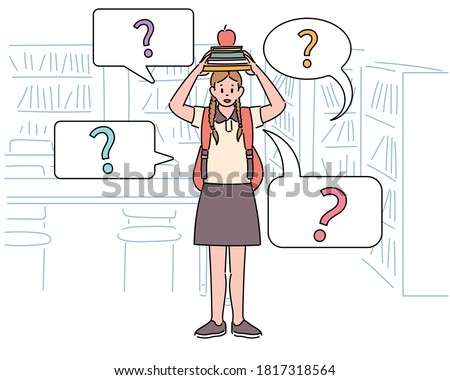 A girl is standing in the library, stacking books on her head and looking curiously. hand drawn style vector design illustrations.