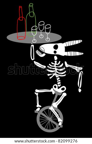 a goat  skeleton mounts the unicycle and takes tray with bottle