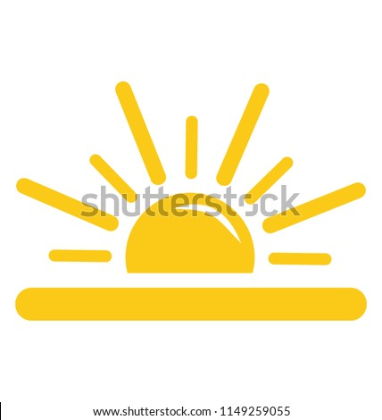 A half sun with rays emerging upwards, sunrise concept