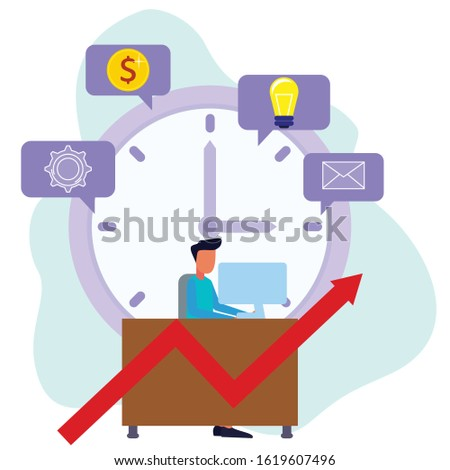 A happy man in an informal suit sits in the office with a large clock background. The concept of multitasking, productivity and time management. Flat vector.