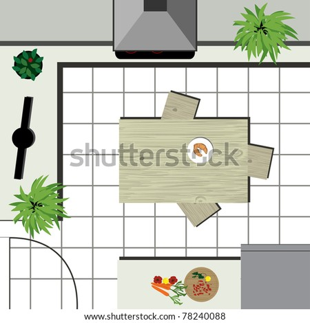 Kitchen Design Sketch on Kitchen Design Plan   Vector Sketch   78240088   Shutterstock