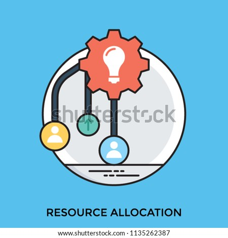A light bulb indicating a plan of holding and management resources and some nodes showing resource allocation concept