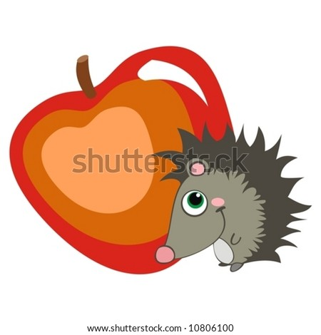 A little hedgehog with a big apple.