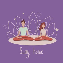 A man and a woman do yoga. The family meditates and plays sports. Stay at home. A man in red pants and a green t-shirt and a woman in a white t-shirt and red pants sit in a Lotus position on a purple