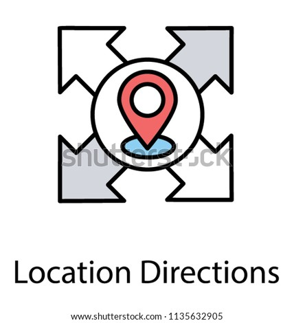 A map pin embedded in the center of four directional arrows presenting icon concept of location directions