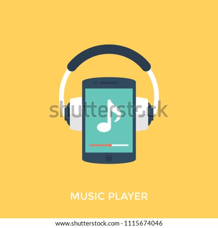 A music player, mp3 or ipod with earphones