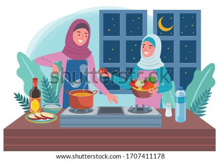 a Muslim woman is cooking food for a pre-dawn meal in the kitchen, and is assisted by her daughter. With a night background.