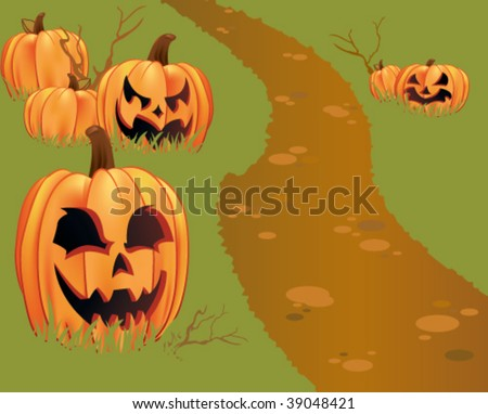 A pathway leads through a pumpkin patch filled with pumpkins and jack-O-lanterns.