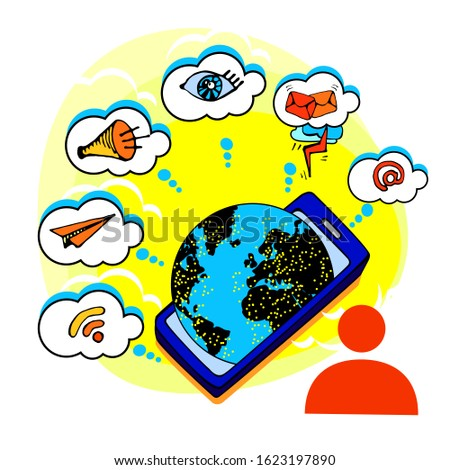 A person is using the phone, internet mail worldwide. Social media communication, work, business. The world is connected by connection, sound, message, we can see and communicate to others. Vector