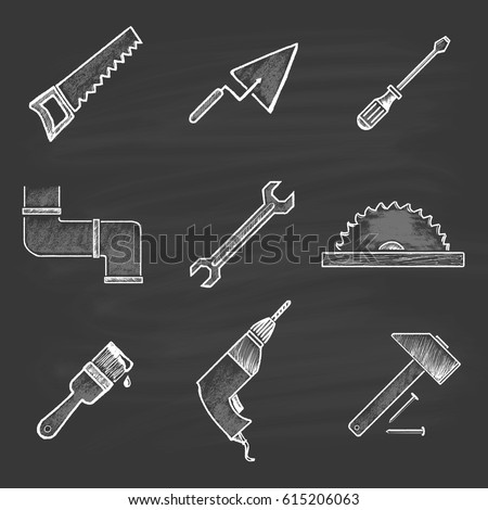A set of nine building icons in a flat style: saw, spatula, screwdriver, sewer, wrench, circular saw, paint brush, drill, hammer and nails. Painted chalk on a black board.