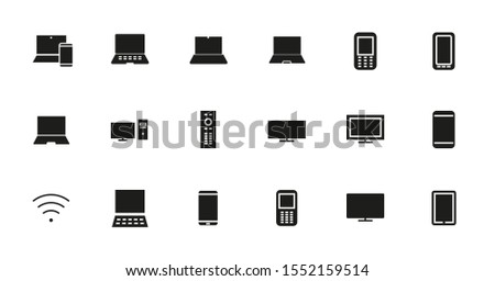 A set of smart devices and gadgets, computer hardware and electronics. Electronic device icons for web and mobile vector lines. Editable stroke. 48x48 pixels.