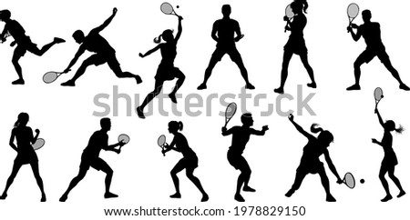 A set of tennis player man and woman silhouette sports people design elements Stock photo ©