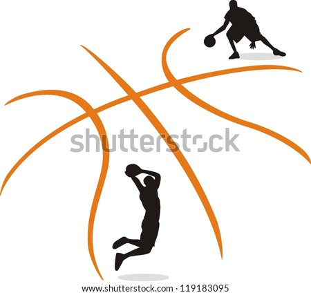 A silhouette of a basketball isolated