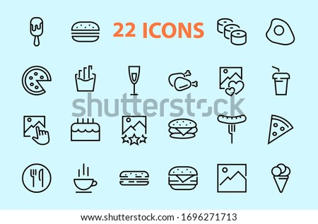A simple set of fast food icons related to the vector line. Contains icons such as pizza, burger, sushi, bike, scrambled eggs and more. EDITABLE stroke. 480x480 pixels perfect, EPS 10.
