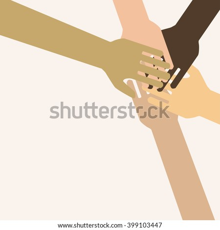 A symbol of unity, teamwork - a lot of hands together.