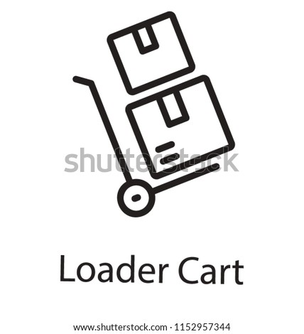 A trolly transporting sealed boxes, package trolly icon