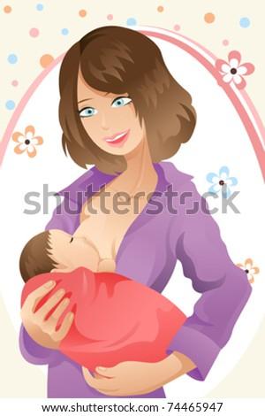 A vector illustration of a woman breast feeding her baby