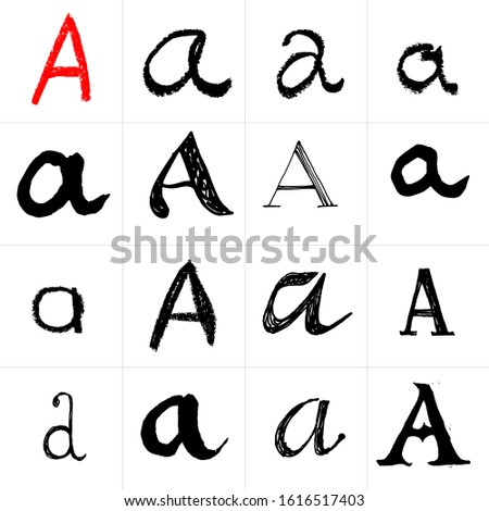 A. Vector letters. Hand drawn letters. Letters drawn using spray can, inkpen, highlighters and others materials. Variety materials, lines and devices. Set of templates.