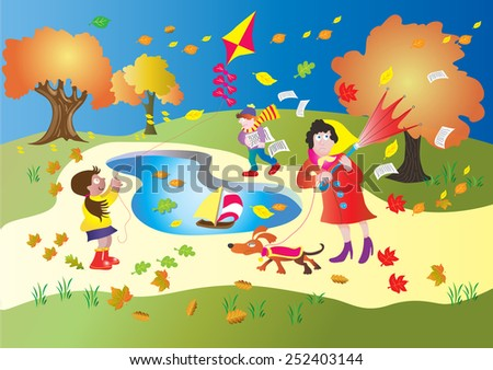 A windy day in the park. A little girl flies her kite, a woman walks her dog, and a boy loses all his papers in the wind