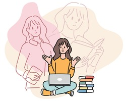 A woman is sitting on the floor with a laptop on her leg and studying. hand drawn style vector design illustrations.