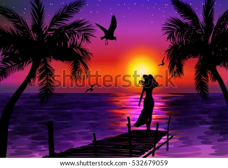 a woman on a pier looking at