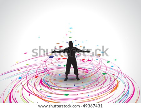 A young man raising his hands vector silhouette in rainbow mosaic wave line , vector illustration