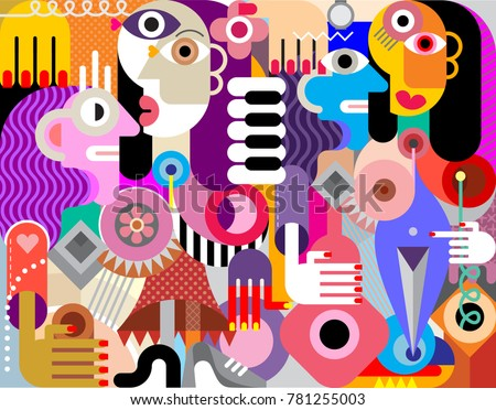 abstract art flat style vector