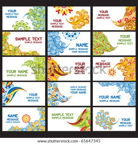 15 abstract asian business cards. Set 4. Eps8.