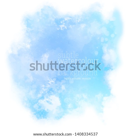 abstract blue water color splash. soft ink stain with splatters and spots on white background. eps 8