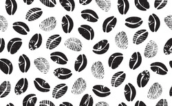 Abstract Coffee Beans on White Background. Coffee Pattern. grunge style. Vector illustration.