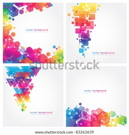 4 Abstract Colorful Background. Vector. Eps 10