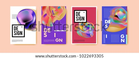 Abstract colorful liquid and curvy colors background for poster design. Blue, yellow, red, orange, pink and green. Vector banner poster template in Eps10.  #1022693305