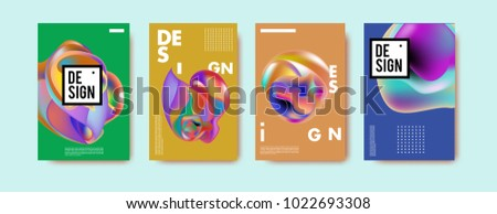 Abstract colorful liquid and curvy colors background for poster design. Blue, yellow, red, orange, pink and green. Vector banner poster template in Eps10.  #1022693308