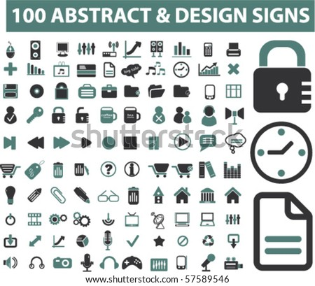 100 abstract & design signs. vector