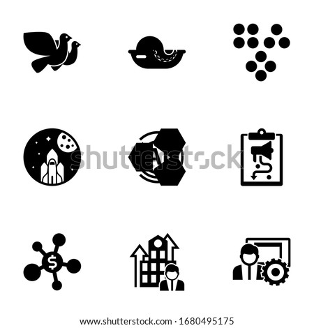 9 abstract filled icons set isolated on white background. Icons set with Dove, seafood, Clustering, space exploration, AI Pattern, social media strategy, Business networking icons.
