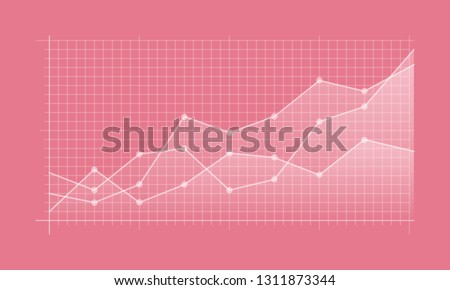 Abstract financial chart with uptrend line graph and numbers in stock market on gradient white color background. Trend lines, columns, market economy information background.  Vector illustration