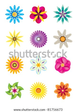 12 abstract flower icons -vector icon set