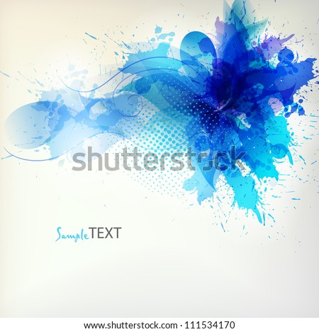 Stock Photo  abstract flower with blue blots. Vector design