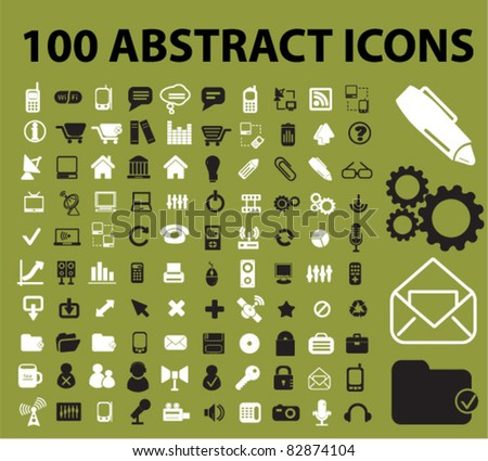 100 abstract icons, signs, vector illustrations