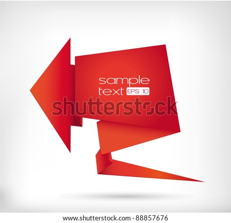 Abstract image of a red arrow in the form of origami
