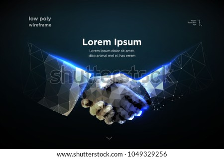 Abstract image of Business handshake in the form of a starry sky or space, consisting of points, lines, and shapes in the form of planets, stars and the universe. Vector best deal. RGB Color mode