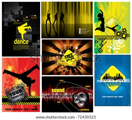 7 abstract music background - set1