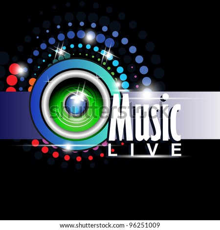 Abstract musical banner with Glowing Lights Speaker Behind Vector Background.
