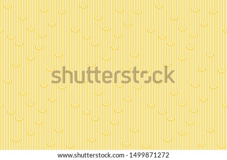 Abstract Noodles Pattern. Yellow and White Stripes Seamless Illustration. Vector Linear Texture.