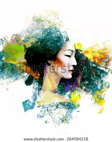 abstract painting with asian