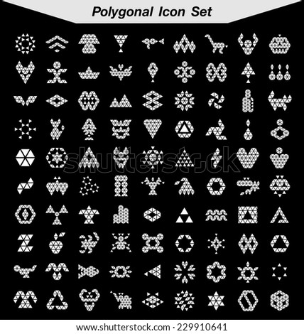 abstract polygonal icon set