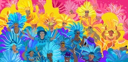 2020 Abstract Rio Brazilian Carnival music dance festival night party Happy People Samba dancer parade Sambadrome, New Orleans Mardi Gras, notting hill, Venezia costume exotic tropical vector brochure
