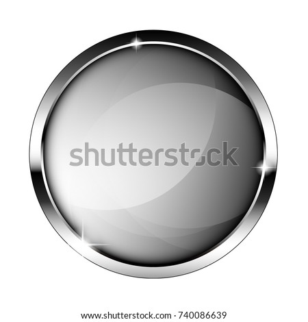 Abstract round grey background with a silver frame, with space for your text. Vector illustration.