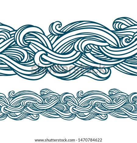 Abstract seamless pattern. Vector illustration with abstract waves. Linear ornament. Linear rope design.