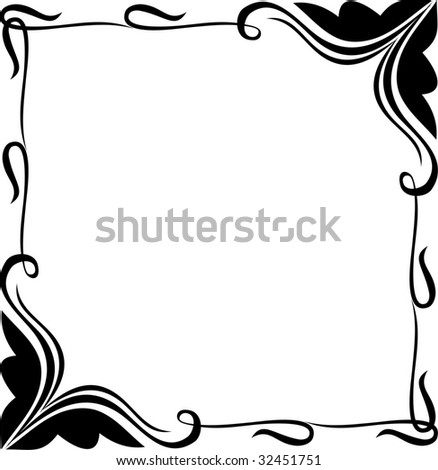 abstract square frame with floral elements - stock vector